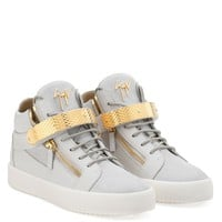 Giuseppe Zanotti Gz Archer High White Calf Leather And White Suede Mid-top With Metal Bar