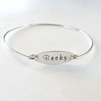 Personalized Bracelet Personalized Bridesmaid Gift Name Bangle Monogram Jewelry Bridesmaid Jewelry
