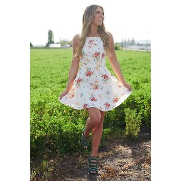 Give Me Flowers Dress (White Multi)