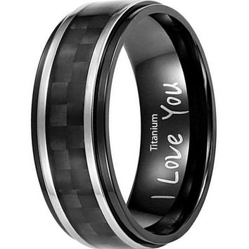 CERTIFIED Men's 8mm Black Titanium Blue Carbon Fiber Ring with I Love You Engraved