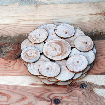 Set of 3 Rustic Natural Wood Cup Coasters, Rustic Wood Coasters, Rustic Natural Wood Cup Base