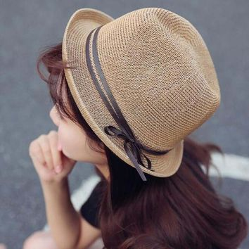 Women Outdoors Summer Short Brim Straw Sun Hat Solid Color Breathable Foldable Beach Caps Anti-UV Protection Sunshade Hats