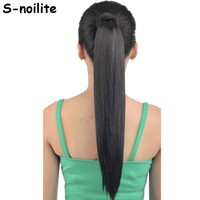 """S-noilite Fake Hair Ponytail Long Straight Hair Pieces Synthetic Hair 125g 22-26"""" Hairpiece Clip In Pony tail Multicolor"""