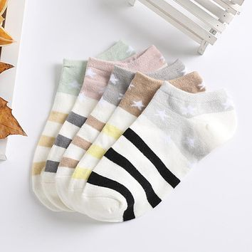 1 Pair Women Candy Color Stars Stripes Low Cut Breathable Stretchy Boat Socks Warm