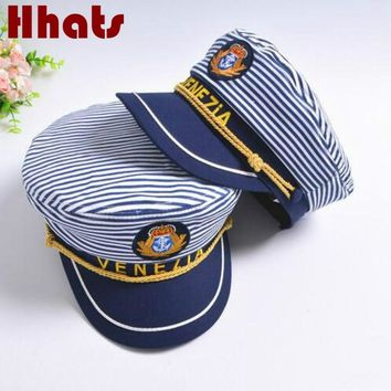 which in shower striped navy military hat cap fashion flat sailor captain hat family sailor cap bone women men  tage costumes