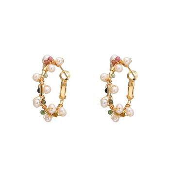 Stone Pearl Hoop Earrings
