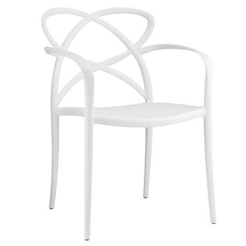 Modern Enact Dining Armchair Accent Chair in White