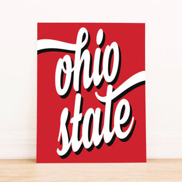 Ohio State Art PrintableTypography Poster Dorm Decor Apartment Art Home Decor Office Poster