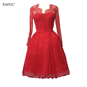 ZAFUL Women Crochet Retro Dress Elegant Red Lace Long Sleeves 60s Vintage dress Party Prom Ball Gown S~L Feminido Vestidos