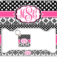 Monogram License Plate Frame Holder Car Front Tag Personalized Custom Vanity Hot Pink Black Polka Dots Damask Keychain
