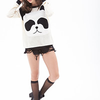 FOREVER 21 Wool-Blend Panda Sweater Taupe/Black