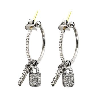 0.82ct Diamonds in 925 Silver & 14K Gold Key Padlock Dangle Charm Hoop Earrings