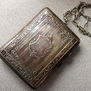 Antique German silver WRISTLET purse coin holders very ornate and decorative paper clip chain