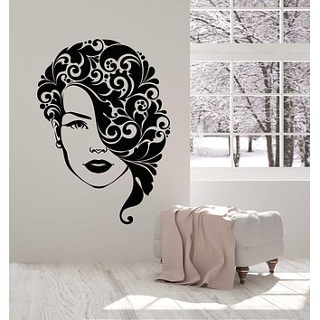 Vinyl Wall Decal Beauty Hair Salon Art Girl Hairstyle Face Stickers (2700ig)