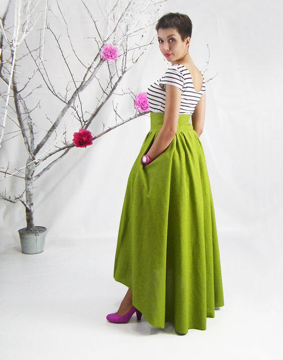 maxi skirt high low hem skirt lime from fatberry fatberry