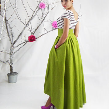 Maxi Skirt, High Low Hem Skirt, Lime Circle Skirt, Dip Back Full Skirt, High Waisted Skirt, Plus Size Maxi Skirt, Maxi Skirt with Pockets
