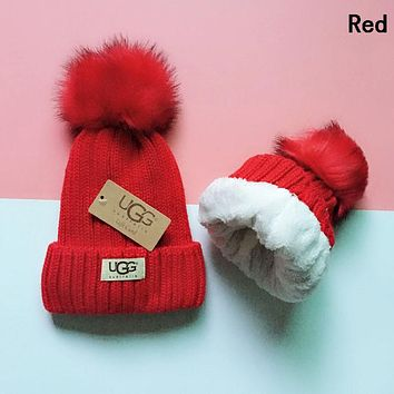 UGG Winter Classic Popular Women Men Velvet Warm Knit Hat Cap Red