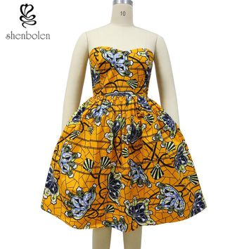 Anneliese Ankara styled sweetheart dress with pockets