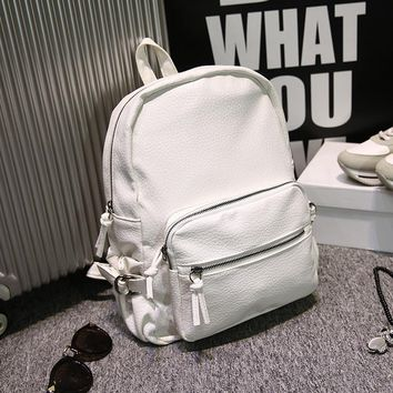 White Vintage Retro Leather Backpack Daypack for Women