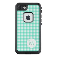 Trendy Mint Green Gingham Checked Pattern Monogram LifeProof® FRĒ® iPhone 7 Case