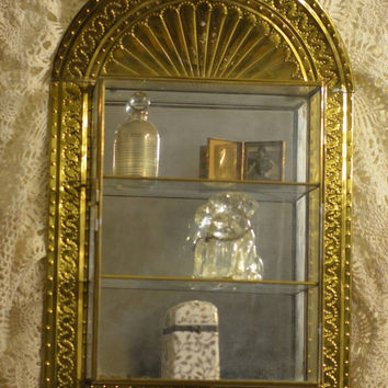 Vintage Gold Mirrored Display Shelf