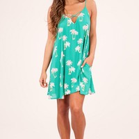 Peach Love Palm Trees Dress - Green Pink