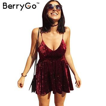 BerryGo Red velvet backless sexy dress Christmas v neck sleeveless women dress Women autumn winter sundress vestidos