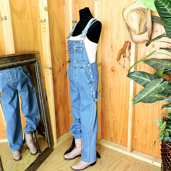Overalls / size S / 90s grunge / womens medium wash bib overalls / No Boundaries denim over all jeans / gravelstreetvintage