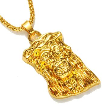 Hot gold color filled jesus piece pendant necklace for men women hip hop jewelry Gold-Color chunky chain long necklace