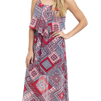 Americana Tile Print Tiered Maxi Dress