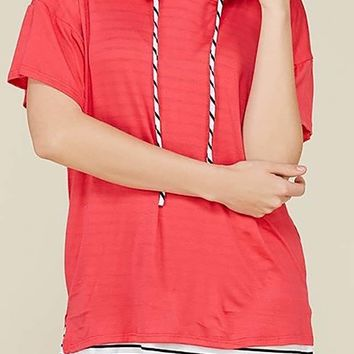 Striped Lined Relaxed Fit Hoodie Tops
