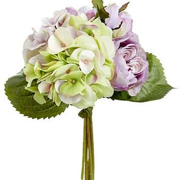 "Lavender Silk Rose and Hydrangea Bouquet - 11"" Tall"