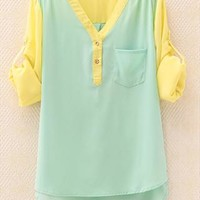 Mixed Color Chiffon V Neck Shirt for Women RFD765 from topsales
