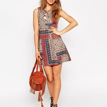 ASOS Skater Dress in Patch Tile Print with Lace Up