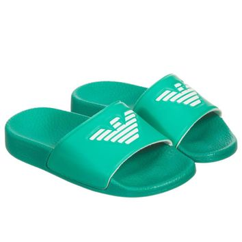 Boys Green Logo Flip-Flops Sandals