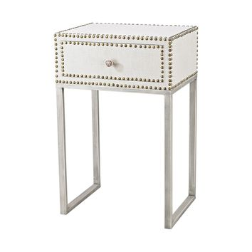 Albiera 1 Drawer Accent Table Natural Linen,Driftwood Grey