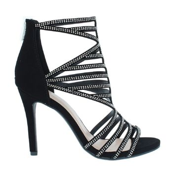 Caged Gem Stone Party Sandal (BLACK)
