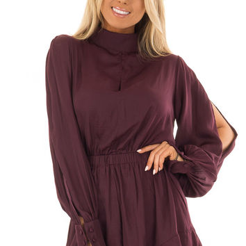 Sangria Long Open Sleeve Romper with Keyhole Detail