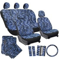 OxGord® 21pc Set of Zebra Print Car Seat Covers w/Deluxe Velour Animal Carpet Floor Mats, Steering Wheel Cover & Shoulder Pads - Airbag Compatible - Front Low Back Buckets - 50/50 or 60/40 Rear Split Bench - Universal Fit for Cars, Truck, SUV, or Van, Blue