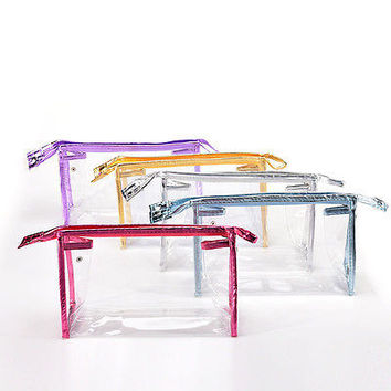 Clear Transparent Plastic PVC Travel Cosmetic Make Up Toiletry Bag Zipper