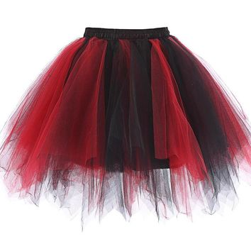 Tulle Short Wedding Petticoats for Vintage Bridal Underskirt Crinoline Petticoat Puffy Ball Gown Rockabilly Tutu Skirt Red Black