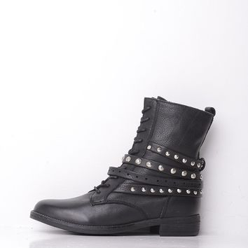Dune Lace Up Stud Strap Boot