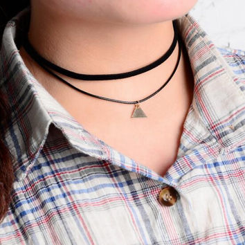 Fashion double layer triangle pendant choker necklace XR