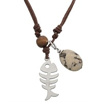 Tribal Fish & Stone Cord Necklace