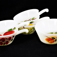 Anchor Hocking Handled Soup Bowls, Milk Glass, Gay Fad Pattern, Set of 7, Vintage Kitchen Serving