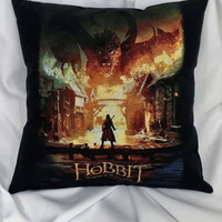 The Hobbit Smaug tshirt made into a throw pillow cover.