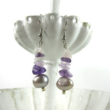 Amethyst Pearl Earrings, Amethyst and Rose Quartz Earrings, Pink and Purple Stone Earrings, Purple Freshwater Pearl Earrings