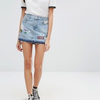 Pull&Bear Denim Skirt with Patches