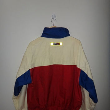 New Year Sale Vintage Tommy Hilfiger Sailing Gear Jacket Coat Color block Hooded Windbreaker Multi Color Street wear Vtg