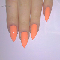 Peach Stiletto nails, Nail designs, Nail art, Nails, Stiletto nails, Acrylic nails, Pointy nails, Fake nails